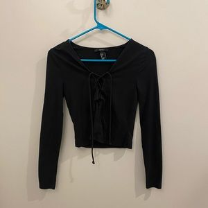 Forever 21 Black Long Sleeve Lace Up Crop Top